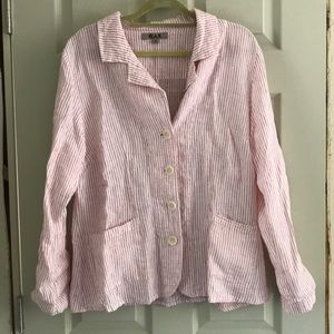Pink and white striped Flax linen button down